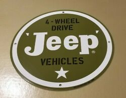 Vintage Willyand039s Jeep Porcelain Gas Auto Sales And Service Dealership 11 3/4 Sign