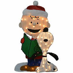 Productworks Peanuts 32in Charlie Brown And Singing Snoopy Christmas Yard Art