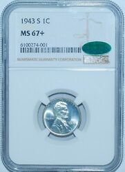 1943 S Ngc Ms67+ Cac Lincoln Wheat Steel Cent