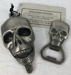 Nwt 2 Lot Williams Sonoma Wall Mounted Skull And Handheld Bottle Opener Metal New