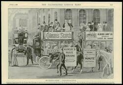 1896 Antique Print - Advertising Posters Horseless Carriages Colmans Hindes 57