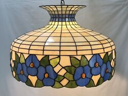 Large Vtg Stained Glass Lamp Shade Hanging Light Chandelier Swag Blue Floral