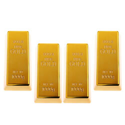 4x Fake Fine Gold Bar Paper Weight Prop Dress Party Table 6'' Bullion Toy