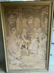 Antique Vintage Framed Wall Hanging Tapestry French