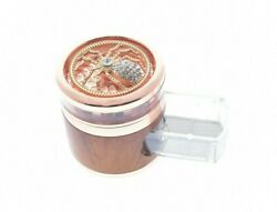 Rosegold And Wood Diamond Spider Heavy Duty Herb Grinder With Easy-access Drawer
