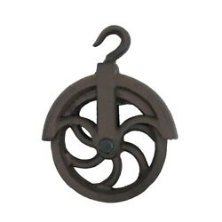 Rustic Cast Iron Hanging Cable Pulley Wheel Hook Farmhouse Country Home Decor