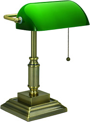 Bankers Desk Lamp Vintage Green Glass Shade Student Antique Piano Table Light