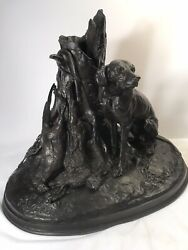 An Antique Cast Iron Statue/ P.j.mene/ Signed And Dated 1850/ Setter Dog/ Animals
