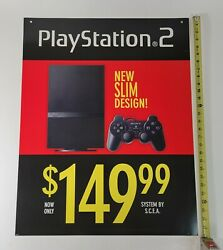 Sony Playstation Slim Ps2 Video Game Store Display Sign 22x28 Promo Advertising