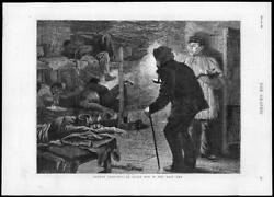 1880 - Antique Print London Opium Den East End Beds Pipes Candle Chinaman 049