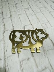 Vintage Brass Pig Trivet Made 1981 By Maleck 9.5andrdquox6.5andrdquo