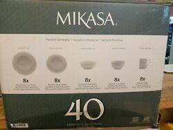 Mikasa Cheers 40 Piece White-on-white Decal Designs Dinnerware Set Service For 8
