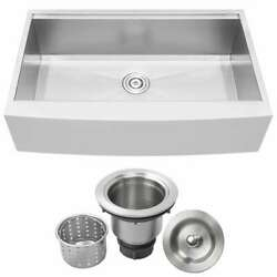 Ticor Kitchen Sink/accesory 36 In. 1-bowl Farmhouse/apron-front Stainless Steel
