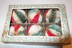 Vintage Christmas Honeycomb Paper Glitter Ornaments Box Of 6 Japan Bea West 2.5