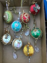 Vintage Satin Beaded Ornaments Lot Of 8