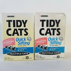 2 Purina Tidy Cats Quick Sifting Cat Box Litter Box Liners Multiple Cats 1.5mil