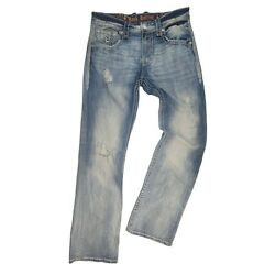 Rock Revival Mens Relaxed Straight Distressed Jeans Size 34 X 36 Chester Ej Blue