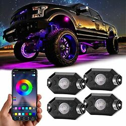 Rgb Led Rock Lights 4 Pods Underglow Multicolor Neon Light Accessories With A...