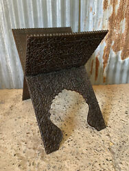 Antique Anglo Indian Quran Stand Carved Wooden Book Magazine Rack Canterbury
