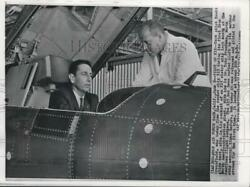 1959 Press Photo Scott Crossfield In Plane's Cockpit And Dr. Toby Freedman In Ca