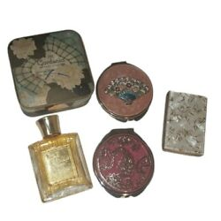 Vintage 5pc Lot Of Compact Mirrors, Face Powder And Perfume Purse Vanity Ladies