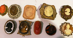 Cameos---collection Of Costume 79- Vintage And Antique--no Gold Or Silver--