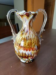Antique Cased Spatter End Day Glass Vase Applied Thorny Double Handle Victorian