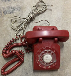 Vintage Red Bell System Western Electric Rotary Dial Desk Phone 500