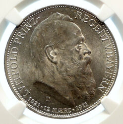 1911 D Germany Bavaria Otto I Luitpold Old Silver 3 Mark Coin Ngc I96165
