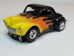 Flamed Willys Coupe Slot Car Ho New Chrome Craig Rims, And Rubber Tires