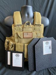 Tactical Vest Coyote Fde Tan Plate Carrier W/ 2 10x12 Curved Plates And Sides