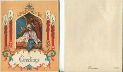 Vintage Christmas Nativity Christ Luke 214 Red Candles Silver Mcm Greeting Card