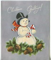 Vintage Christmas Snowman Pipe Candy Cane Pine Cones Flocked Mcm Greeting Card