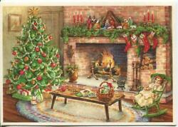 Vintage Christmas Ornaments Tree Doll Rocking Chair Candles Hearth Greeting Card