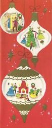 Vintage Christmas Red White Gold Ornaments Victorian Tree Decorate Greeting Card