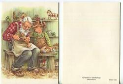 Vintage Christmas Grandfather Granddaughter Toy Wood Carver Horse Greeting Card