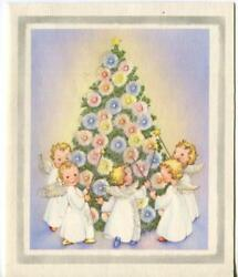 Vintage Christmas Glitter Angels Gathered Around Tree Ornaments Greeting Card