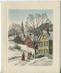 Vintage Christmas Victorian Colonial Americana Houses Village Snow Greeting Card