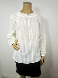 Current Air White Embroidered Top Size M Elastic Neck Long Sleeves Semi Sheer
