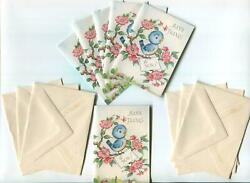 Vintage Blue Bird Chirping Singing Cherry Blossoms Miniature Thank You Art Cards