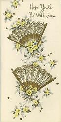 Vintage Eventail Fan Yellow Roses Get Well Greeting Card Art Print Imperfect