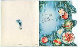 Vintage Christmas Blue Green Tree Icicles Round Ornaments Mcm Greeting Art Card