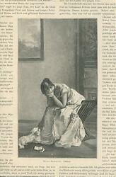 Antique Victorian Woman Weeps Crying Sorrow Reading Book White Poodle Dog Print