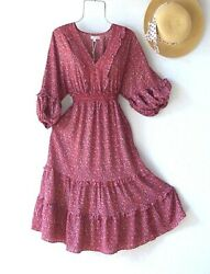 New138fall Sunset Floral Peasant Farmhouse Tiered Boho Dresssize Large L