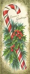 Vintage Christmas Candy Cane Red White Gold Green Holly Berries Greeting Card