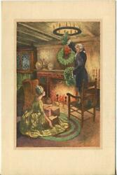 Vintage Christmas Versailles Cottage Wreath Costume William Mark Young Art Card