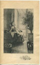 Antique Victorian Girl Day Dreaming Window Sun Money Box Remarque Etching Print