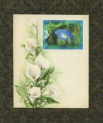 Calla Lily Blue Morning Glory Flowers Collage Artisan Print Antique Paper Art