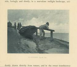 Antique Fisherman Looking Out To Sea Wood Boat Nautical Maritime Miniature Print