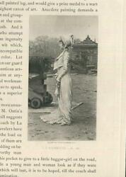 Antique Beautiful Woman White Gown Dress Hat War Canon Militiary Small Print